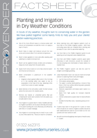 Planting & Irrigation in Dry Weather Conditions