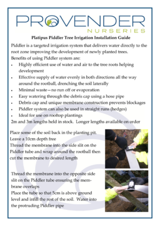Platipus Piddler Tree Irrigation Installation Guide