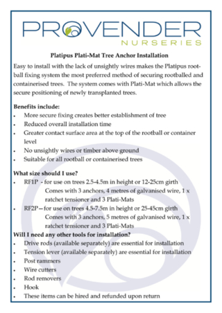 Platipus Tree Anchor Installation Guide
